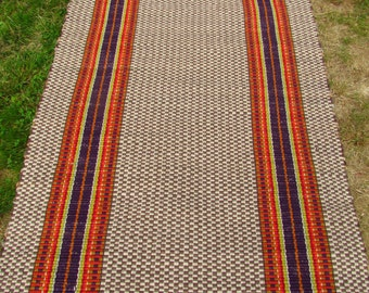 Rag Rug Runner 3'x8' Handwoven Directional Colors......Southwest