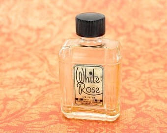 Vintage Miniature Art Deco Perfume Bottle, 1930s Perfume, Clear Glass Perfume, Original Label, White Rose Perfume, Celluloid Lid, Epsteam