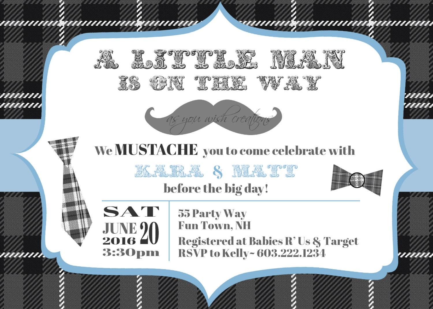 Snap Little Man Bow Tie Mustache Bash Printable Party Invitation ...