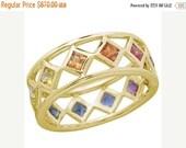 Valentines Day Sale Multicolor Rainbow Sapphire Bezel Set Eternity Ring 14K Yellow Gold : sku 973-yellow-14K