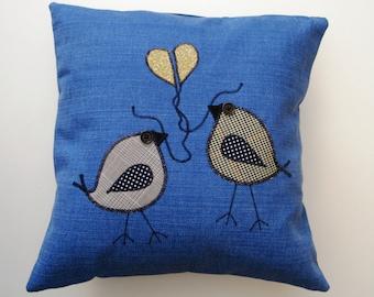 Royal Blue Appliqued Birds Pillow