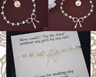 5 Initial Tie the Knot Bow Bridesmaid Bracelets, Pearl Bridesmaid Gift, Sterling Silver Bow,  Knot Bracelet, Thank you card. Pearl Bracelet