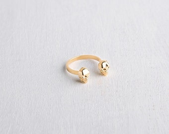 Skull ring, 24K gold plated adjustable ring, pure silver ring. open ring