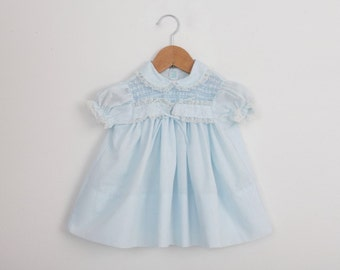 Vintage Baby Dress in Pastel Blue with Smocking and Lace / 1960s baby dress / 6 to 9 months