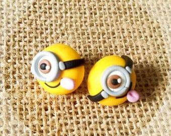 Minions Earrings stud studs polymer clay cute sweets kawaii handmade