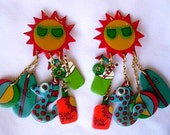 Huge Sun Sunglasses Whimsical Beach Earrings Beach Ball Seahorse Surfboard Vintage Signed DCZ Dangle Laminated Plastic Kitsch Clip On Happy!