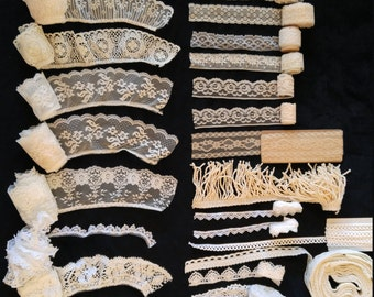 Vintage Sewing Trim Assorted Lace and Trim