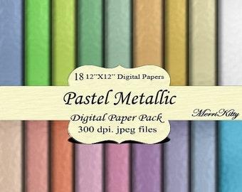 "ON SALE 65% OFF Instant Download - Digital Scrapbook Paper Pack - Pastel Metallic - Mk44 - 18 12""x12"" Digital Papers - Collage Sheets - Scra"