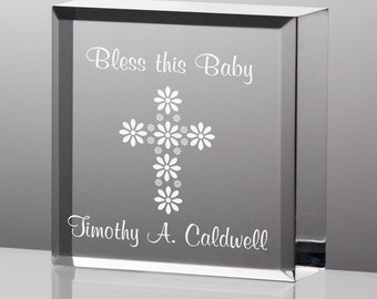 Engraved Tiny Treasures Bless This Baby Keepsake