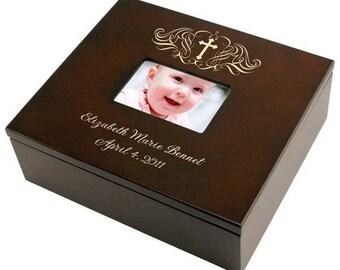 Engraved Holy Cross Wooden Keepsake Box
