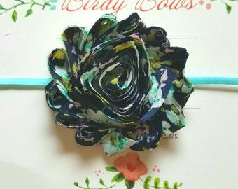 Navy Floral Headband, Baby Headbands, Infant Headbands, Baby Bows, Baby Girl Headbands, Infant Bows, Newborn Headbands