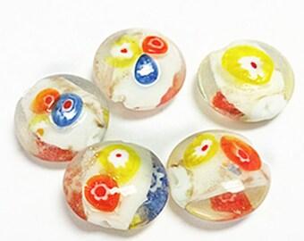 6pc 21x19mm flat round lampwork glass beads-6919h