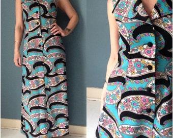 60s Floral Maxi Dress Small