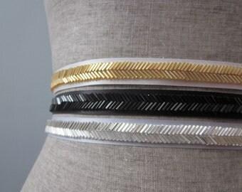 Skinny Chevron Beaded Sash / Belt in Gold, Silver, or Black