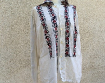 ROMANIAN blouse cotton never been worn circa 1960's free shipping
