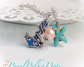 Anchor Anklet Pearl Turquoise  Anchor Charm Jewelry