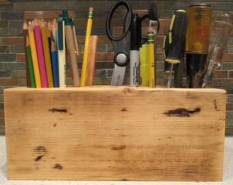 Large Desk Caddy Made from Reclaimed Lumber, Pencil Holder, Desk Organizer, Shop Organizer, Office Caddy, Artist Box, Reclaimed Lumber