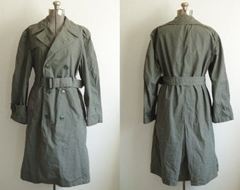 1967 Vietnam Era Military Double Breasted Raincoat Quarpel Army Green Size 36 S