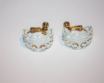 Vintage Hoop Clip On Earrings White Enamel 1970s Bridal Jewelry