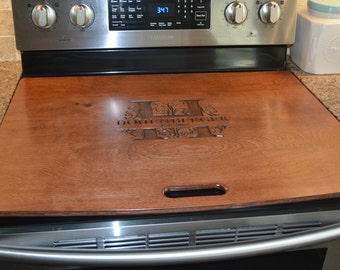 Classy-n-Sassy Stove / Range top cover with Ginger Stain Antiqued artwork, subtle, beautiful, very classy!