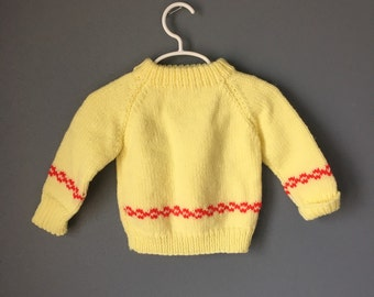 Vintage Yellow Handknit Baby Sweater - 12 Months