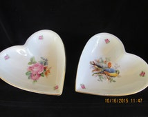 1908 Bavaria Germany Antique Fine Porcelain Heart Pin Dish/Bowl Old Roses & Colorful Parakeet Birds