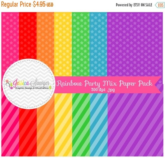 80% OFF - INSTANT DOWNLOAD,  rainbow party printable paper - digital paper -  8.5'' x 11''  - rainbow background - commercial use - scrapboo