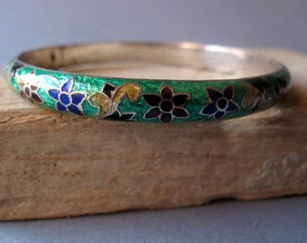 Silver and Enamel India Bracelet.