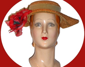 1950s Beautiful spring straw weave hat!