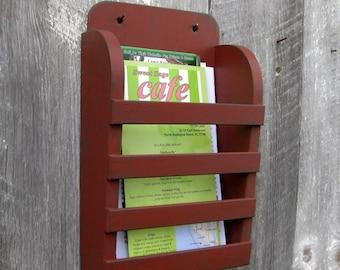 Mini To Go Menu Rustic Distressed Rustic Barn Red Dark Gray Graphite Hanging Magazine Menu Holder Vintage Design Storage Organizer