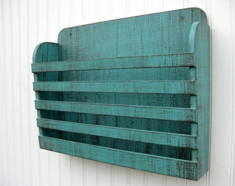 Distressed Wooden Magazine File Holder Book Rack Menu Holder Rustic Aqua Graphite Vintage Design Storage Organizer Aged Shabby Weathered