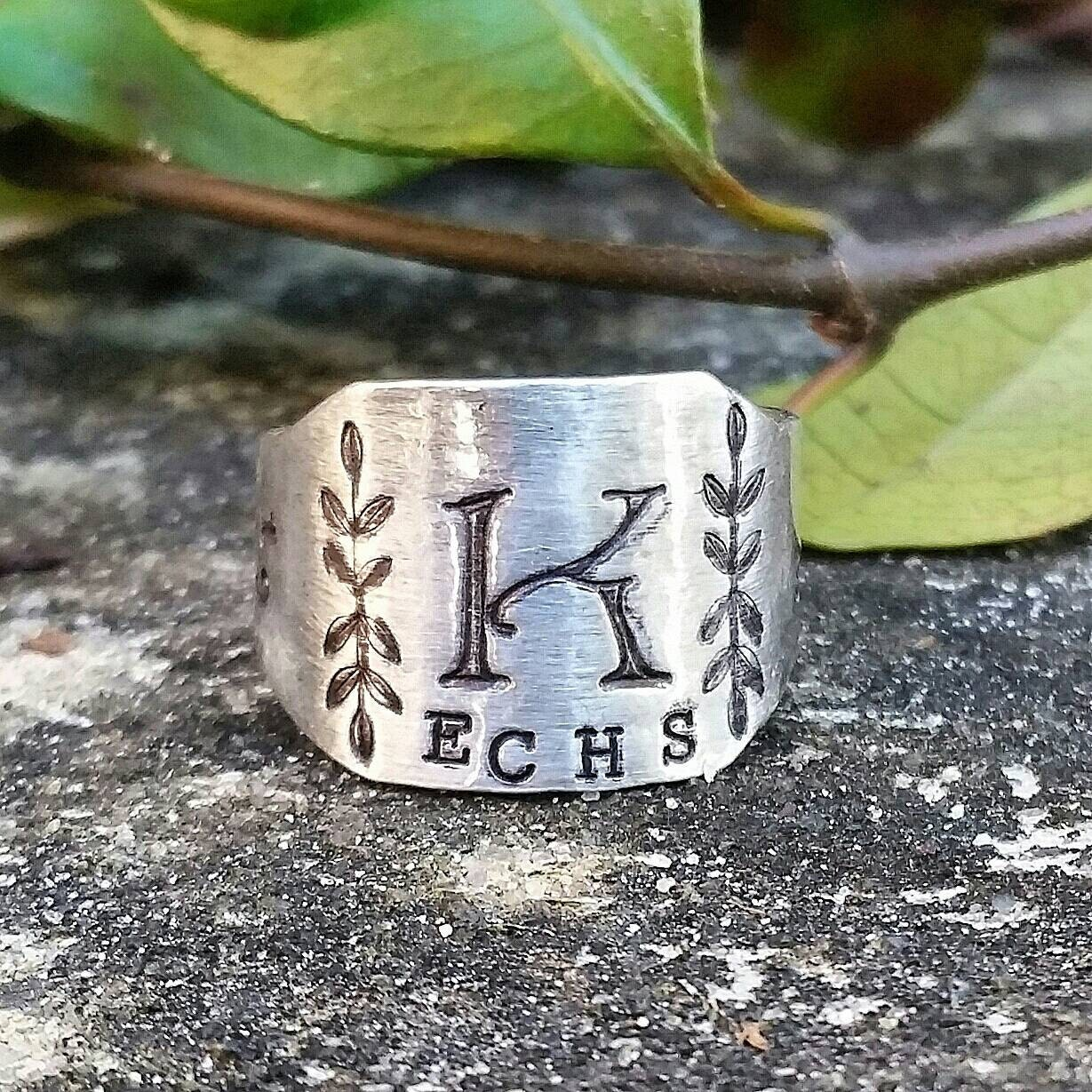 Personalized class ring high school ring silver initial