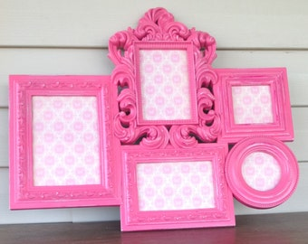 Hot Pink Picture Frame Collage - French Country Style Wall Hanging 5 Openings 5x7 4x6 3x3