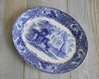 Vintage Platter - Transferware Blue and White Ceramic 'Abbey Pattern' Platter or Plate - English Ceramics