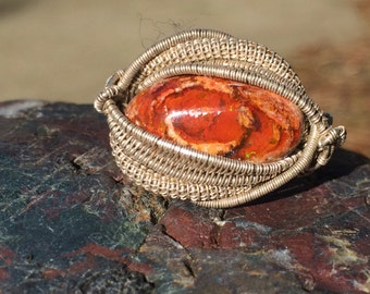 Mexican fire opal ring size 5