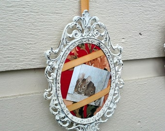 Vintage Frame, Made in Italy, painted and aged, photo frame with a red, green and gold fabric backdrop for a small photo, hangs with ribbon
