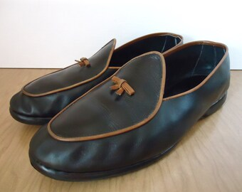 Vintage Belgian Loafer / black & tan trim leather slipper-style dress shoe with small bow / US men's 10.5