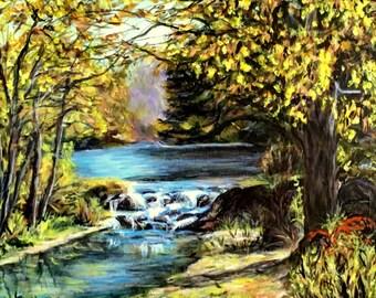 "Fine Art Original 10 X 13 Acrylic Painting ""Autumn Rapids"""