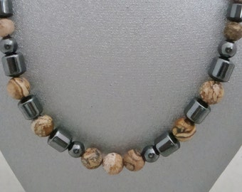 Magnetic Hematite Necklace with Graduated Picture Jaspar