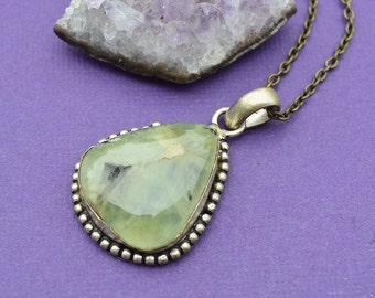 Apple Green Quartz Silver Plated Pendant With Free Necklace- wow- wedding- bridal- fantasy- cosplay- gemstone