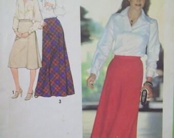 "1970s Bias Skirt Pattern Three Lengths including Maxi Skirt Vintage Simplicity 8977 Size 18 Waist 32"""