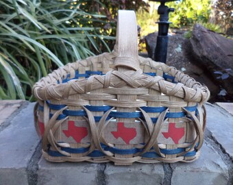Texas Napkin Basket Kitchen Basket Texas Themed Item Made in Texas Handwoven Basket