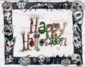 Scary Halloween Alphabet Postcard Hand Illustrated, Instant Digital Download