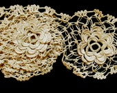 "Five, Attached Cotton Delicate Beige 3-D Flowers;  2-1/2"" Dameter Circular"