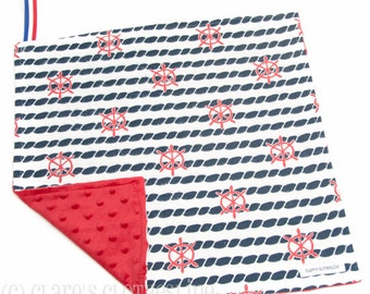 """Baby Lovey Blanket - Red, White and Navy Blue Nautical Ship Wheels Lovey 15""""x15"""" - Ready to Ship"""