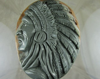 Large carved Indian Native American pendant jasper