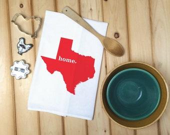 Texas State Flour Sack Towel, Texas State Tea Towel, Kitchen Decor, Flour Sack Tea Towel, House warming gift, wedding gift, birthday gift