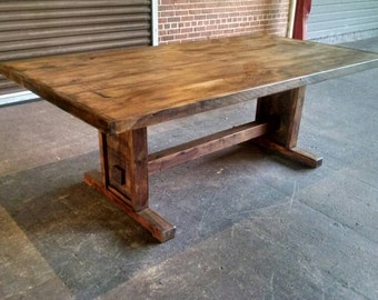 reclaimed wood dinning table, tressel table, reclaimed wood,