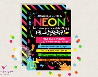 Neon Invitation | Glow Party Invitation | 80's Party | 80's Party Invitation | Rollerskating Birthday | Glow in the Dark Invitations | Neon