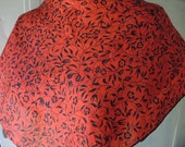 Vintage 1980s silk scarf floral flowers red and black 29 x 29 inches